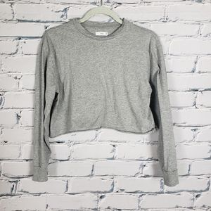 TNA Heather Gray Cropped Cut-off T-shirt